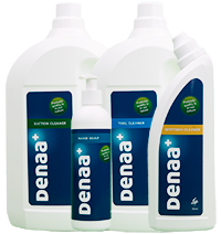 Set of eco-friendly cleaning products for paramedical areas and public institutions