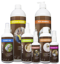Set of eco-friendly care and cleaning products for pets and horses