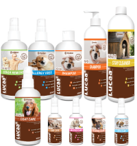 Set of eco-friendly care and cleaning products for pets